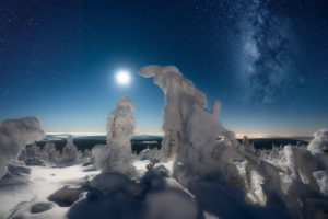 Ice landscape at night